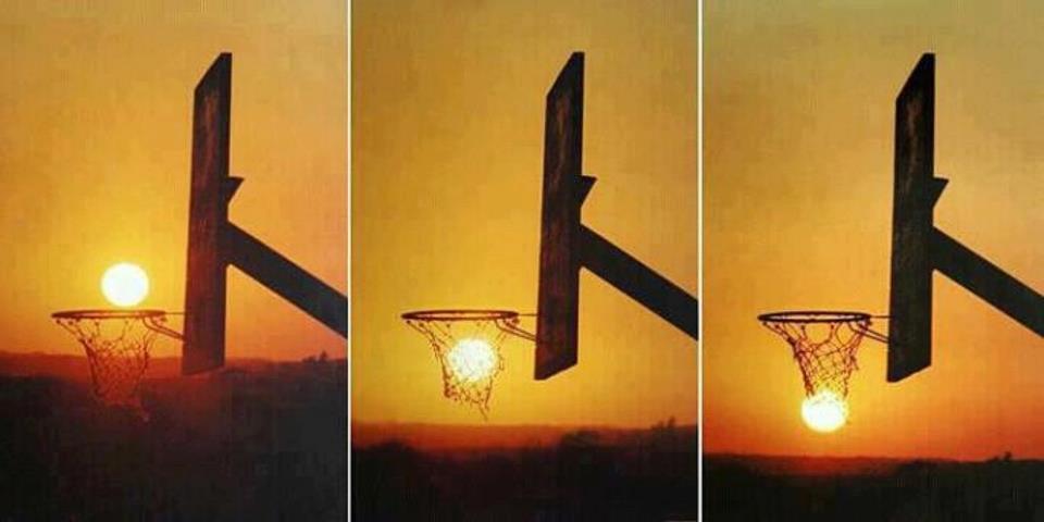 ilusao de otica com sol na tabela de basquete