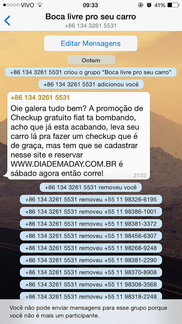 ação do whatsapp da Grupo Sinal de Diadema - SP - INVASIVA