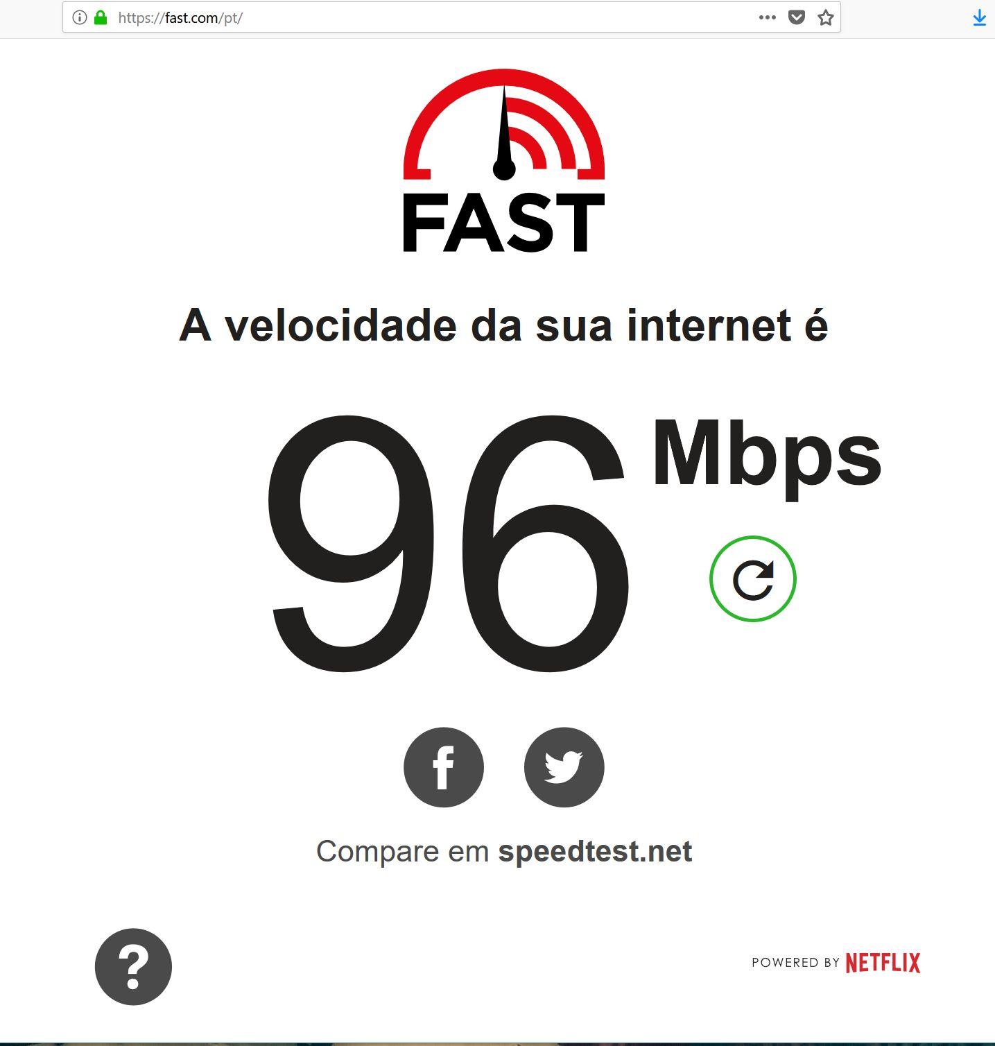 teste de velocidade fast Vivo Fibra 100 megas RJ